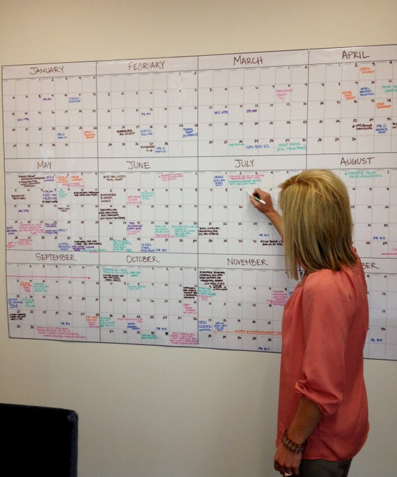 Oversized 72 x 48 Dry Erase Wall Calendar Made by cmshomeoffice