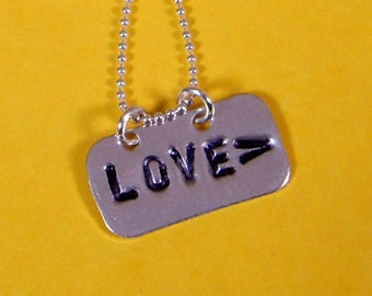 LOVE>  Love More Sterling Silver Hand Stamped Charm *Free US Shipping*