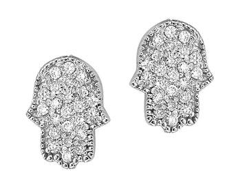 White Gold Hamsa Earrings, Diamond Hamsa Earrings, Hamsa Stud Earrings, Gold Studs, Diamond Studs, Hamsa Hand, Hamsa Jewelry
