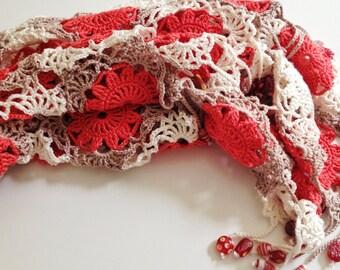 Cream and tangerine beaded crochet shawl