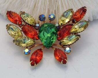 Vintage Rhinestone Butterfly Brooch 50s WoodridgeVintage