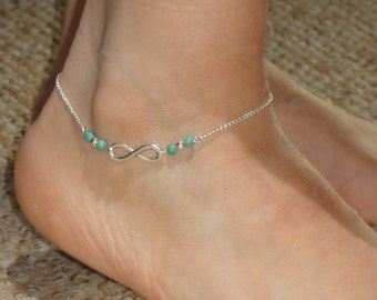 Infinity anklet, Silver infinity turquoise ankle bracelet Infinity jewelry Turquoise ankle bracelet Ankle bracelet UK Turquoise anklet, Gift