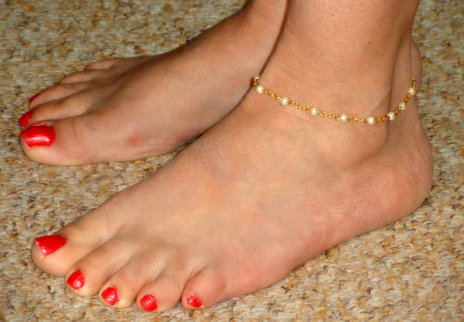 ankle bracelet gold pearl anklet pearl ankle bracelet ankle jewelry gold 4607