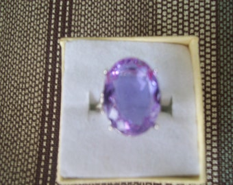 Lavender Lab Sapphire Ring Sterling Silver - 18x13 mm