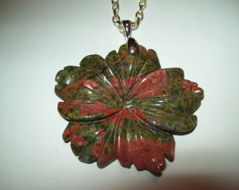 Gorgeous Unakite Carved Flower Pendant