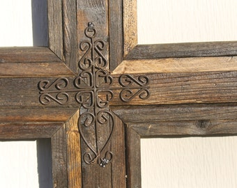 "WALL CROSS - Large Wooden Rustic Cross   33"" tall  wood tones"