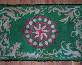 "SALE - Antique Hand-Hooked Rug - ""Star Compass"" Design - Grass Green & Deep Rose Pink - c.1920-30's - 22"" x 35"" - INTL Shipping"