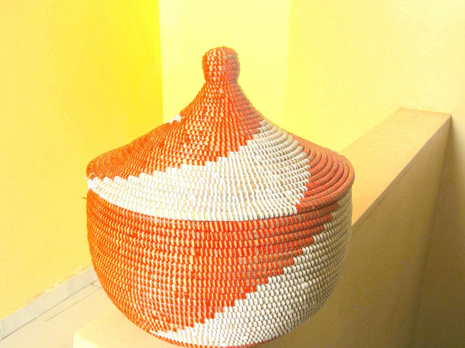 orange and white basket with lid black and white african. Black Bedroom Furniture Sets. Home Design Ideas