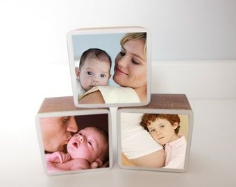 Custom Handmade Baby or Pregnancy Photo Wooden Blocks perfect for baby showers, newborn gifts, nursery and kids' rooms, Set of 3
