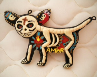 Sacred Heart Chihuahua Dog Clay Pendant- Day of the Dead Dog Skeleton With Handpainted Hearts