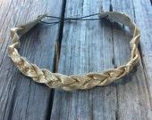Genuine Gold Leather Mystery Braid Headband
