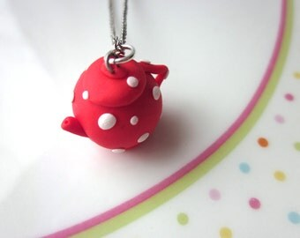 Red Polymer Clay Teapot Pendant Charm, English Teapot Pendant, Teapot Jewellery, Tea Jewellery, Red Polymer Clay Jewellery, Clay Teapot