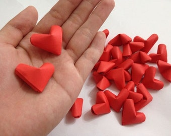 Red Valentine's Origami Hearts, Paper Hearts, Set of 25