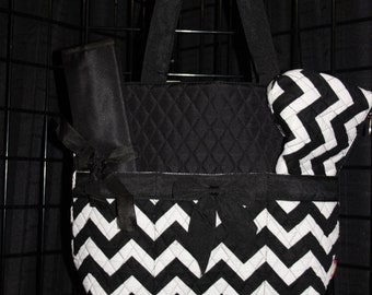 Machine Embroidered Quilted Diaper Bag- Black Chevron, Black Trim