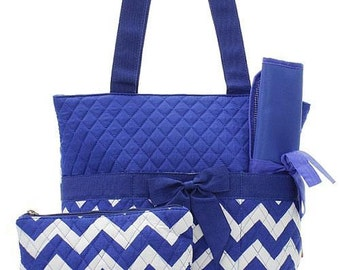 Machine Embroidered Quilted Diaper Bag- Blue Chevron Print.  With FREE Personal Embroidery