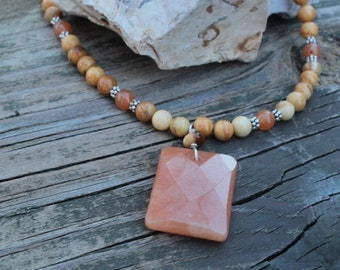 Yellow jade, red aventurine & sterling silver necklace unique handmade jewelry