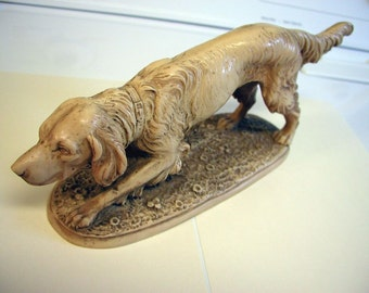 Vintage Italian Art Sculpture - A. Santini Signed Carrara Marble Pointer Dog Italian Art Sculpture