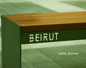 Photo print: Bench in Beirut, Lebanon. Street photography. Middle East photography.
