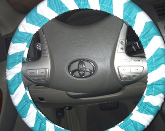 Chevron teal and white steering wheel cover
