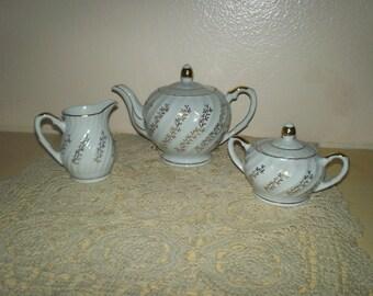 Porcelain Teapot, Sugar & Creamer Set