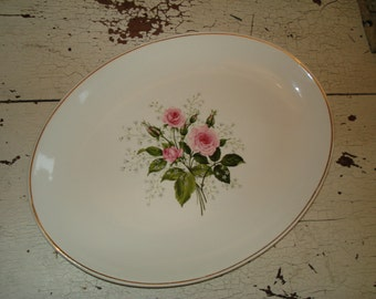 Nice Ivory Vintage Rose Platter Shabby Chic French Cottage Roses / epsteam tvat ivteam wlv vforvintage schteam svfteam