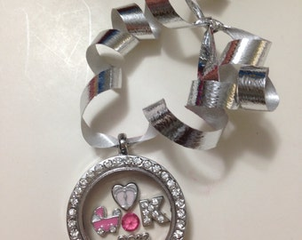 Personalized baby girl's first Christmas ornament joy of shopping Locket
