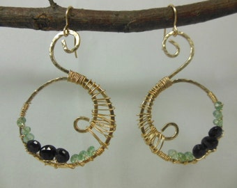 14 k gold fill wire wrapped with black spinel and green amethyst