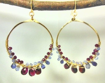 14k gold fill hammered hoops wire wrapped with garnet, tanzanite and iolite