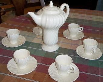 SALE - Franciscan Coronado Swirl Coffee/Chocolate Pot with Demitasse Cups/Saucers - 1936-1941