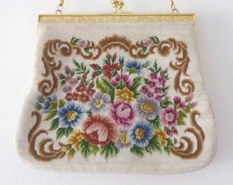 Vintage Petit Point Floral Purse - 1940s