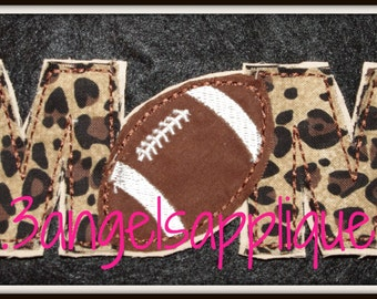 Frayed football MOM applique design 2 sizes INSTANT DOWNLOAD