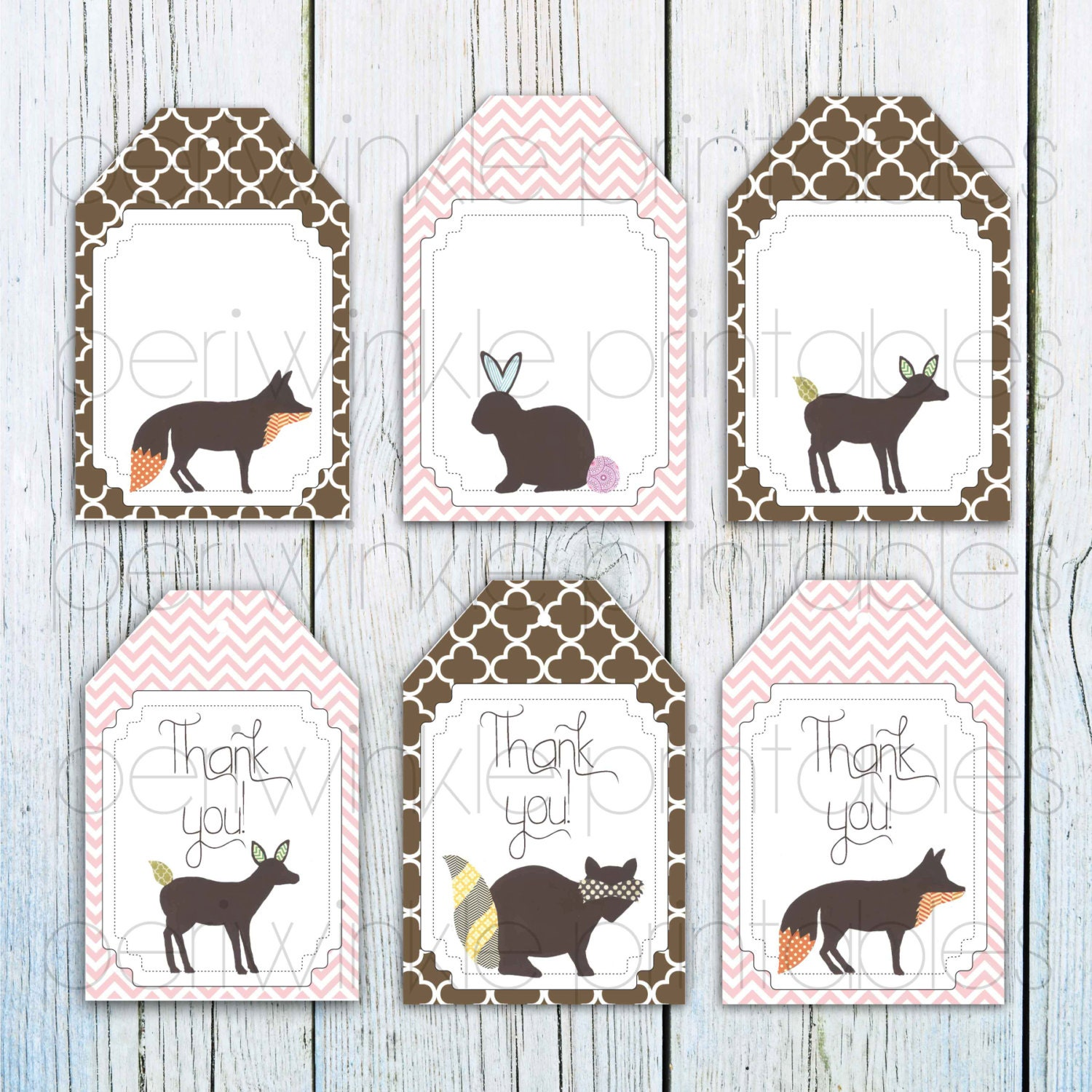 Instant Download Baby Shower Gift Tags Woodland Animals