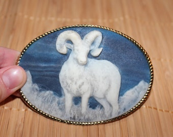 Genuine Incolay Cameo-Style Ram Belt Buckle