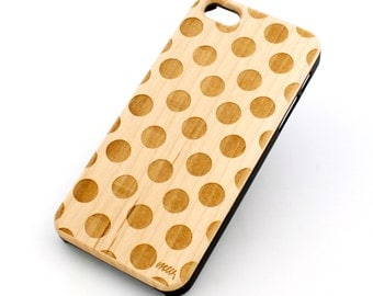 W10 Real Wood W Plastic Case Cover For Iphone 5 5s Polka Dot