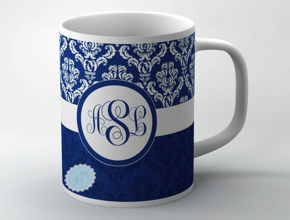 Personalized coffee mug with  blue damask monogram on to white ceramic cup - monogrammed mug