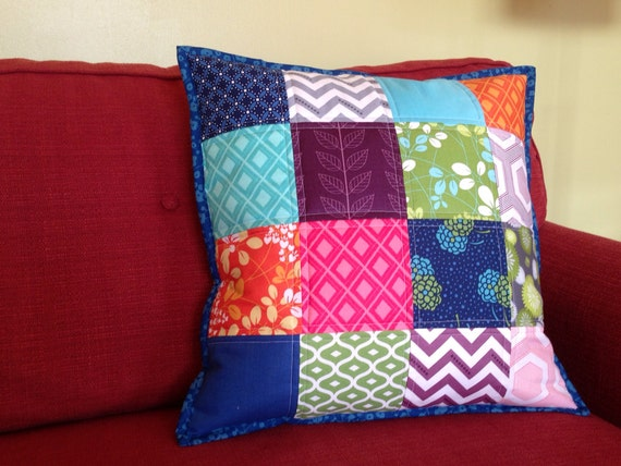 Modern Quilted Patchwork Throw Pillow Cover 18 x by RedOwlQuilts