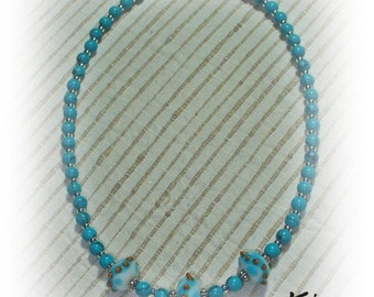 126 Turquoise Necklace with featured lampwork beads