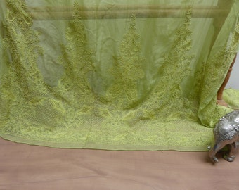 Antique Indian Hand Beaded Silk Dupatta-Awesome Curtain Potential!
