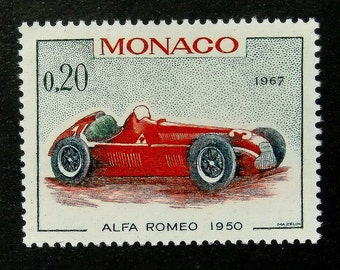 1950 Alfa Romeo Vintage Car -Handmade Framed Postage Stamp Art 14189AM
