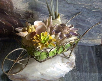 Antique Sea Shell Flower Cart