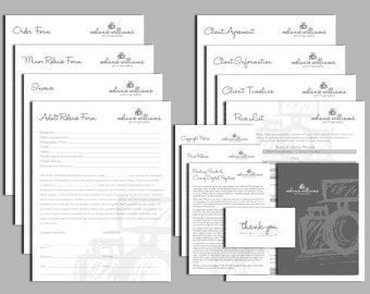 Photography business forms kit sketch camera style editable templates - 13 psd files supplied