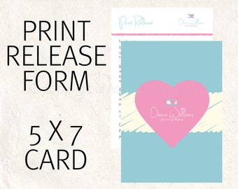 Photography Print release form. Separate print release business form - Instant download 2 PSD files included