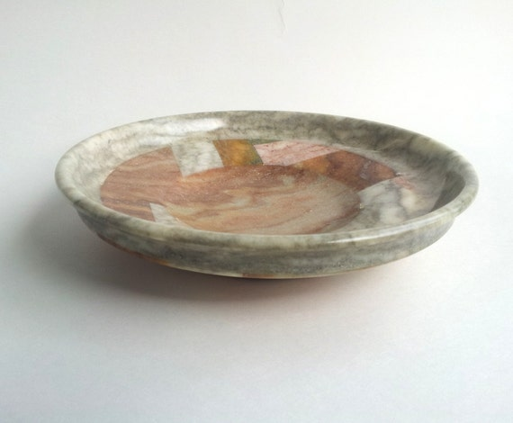 Red Alabaster Stone : Alabaster stone multicolor shallow bowl red and grey