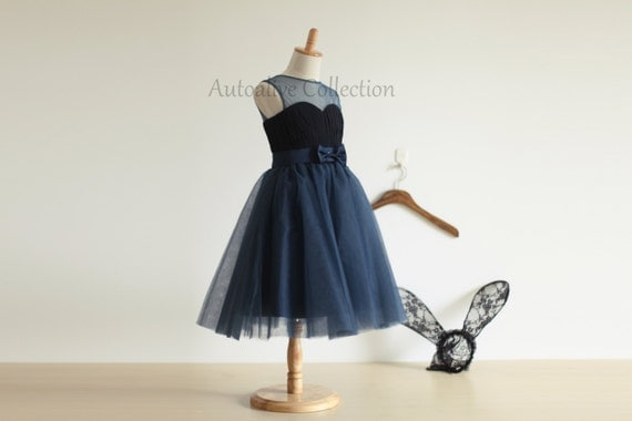 Navy Blue Tulle Chiffon Flower Girl Dress Infant Toddler PAGEANT Bridal Party Dress