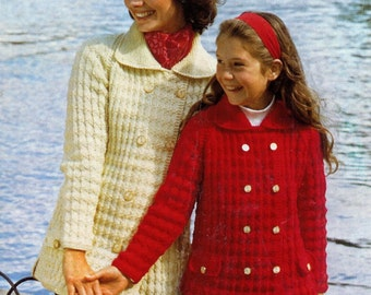 Aran 10 ply Fishermans Knit Mother and Daughter Jackets 26-36 ins - PDF of Vintage Ladies Knitting Patterns