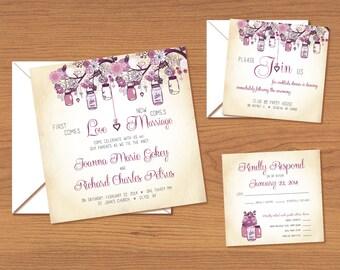 Rustic Mason Jars Purple Wedding Invitation Set