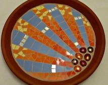 Mosaic birdbath for the garden; sunburst design; fully waterproofed