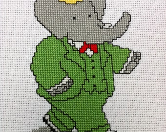 Babar, King of the Elephants - Cross stitch