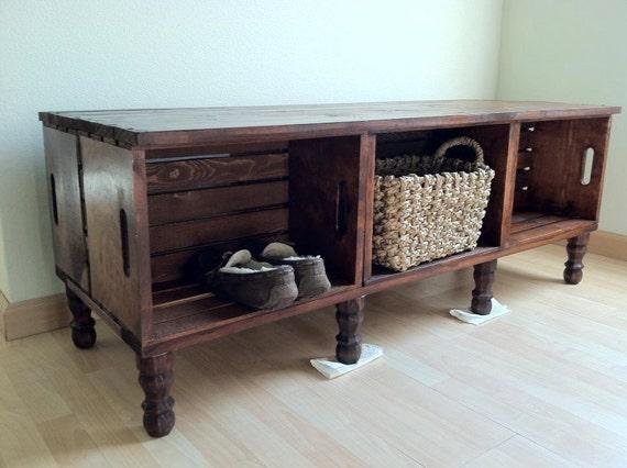 Handmade Vintage Wooden Wine Crate Bedroom Bench With Storage