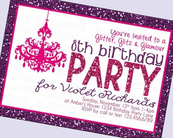 girl birthday party invitation girl birthday invite glitter glamour makeover fashion - Girl Birthday Party Invitations